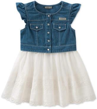 Calvin Klein Cotton Denim Poplin Dress, Little Girls