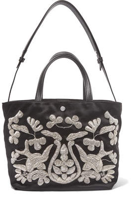 Elizabeth and James - Eloise Zardozi-embroidered Satin Tote - Black $595 thestylecure.com