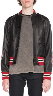 Saint Laurent Teddy Leather Bomber Jacket