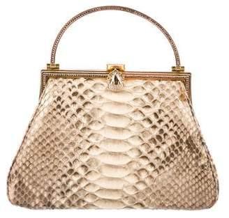 Judith Leiber Metallic Snakeskin Handle Bag