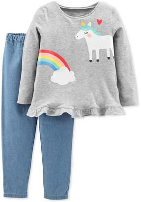 Carter's Baby Girls 2-Pc. Rainbow Unicorn Outfit Set