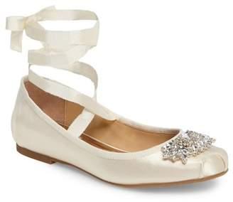 Badgley Mischka Karter Embellished Ankle Wrap Ballet Flat