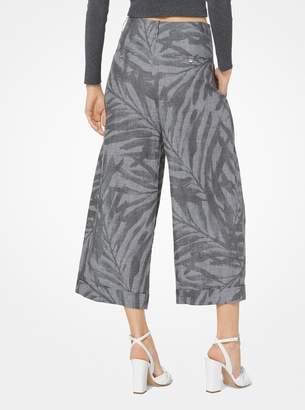 Michael Kors Palm Linen Cropped Trousers