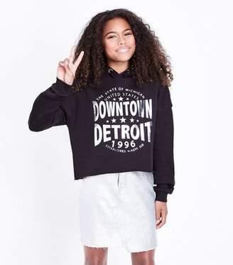 New Look Teens Black Metallic Detroit Slogan Hoodie