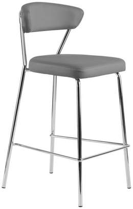 Euro Style Draco-C Counter Stool, Gray With Chrome Base Frame and Base