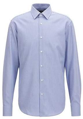 HUGO BOSS Regular-fit cotton shirt in knitted-look piqué