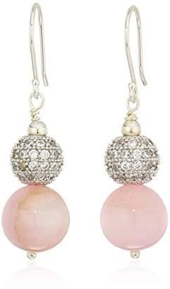 Kunzite Bead and Cubic Zirconia on Sterling Silver Ear Wire Drop Earrings