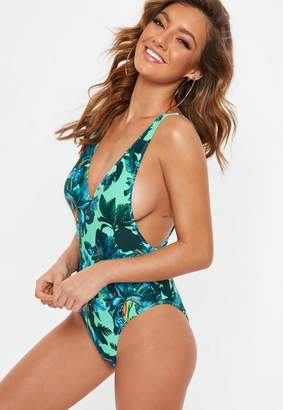 Missguided Green Ultimate Plunge Tropical Swimsuit