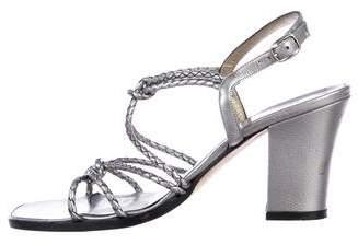 Saint Laurent Woven Ankle Strap Sandals