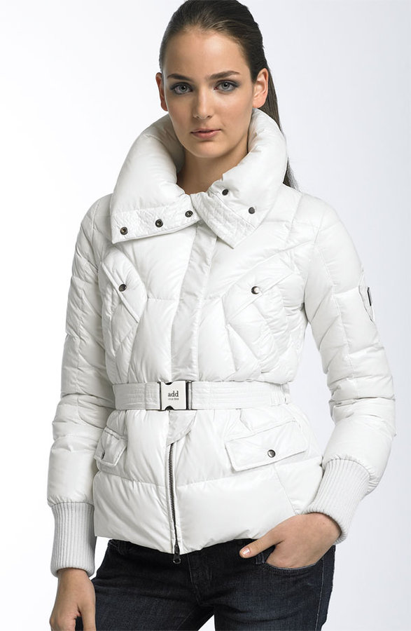 Add Down Belted Nylon Puffer Jacket