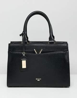 Dune Dalis Black Tote Bag With V Bar Detail