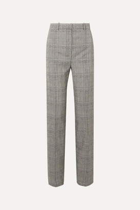 Versace Prince Of Wales Checked Wool Straight-leg Pants - Gray