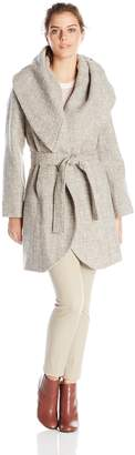 T Tahari Women's Marla Wool Tweed Wrap Coat