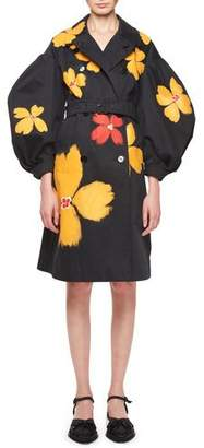 Simone Rocha Floral Belted Puff-Sleeve Trench Coat
