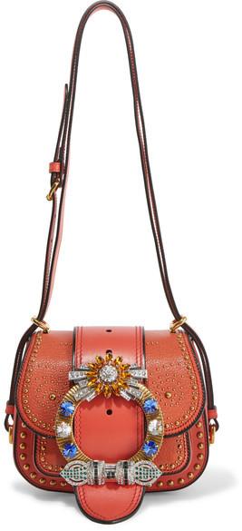 Miu MiuMiu Miu - Dahlia Embellished Leather Shoulder Bag - Red