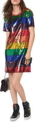 MICHAEL Michael Kors Rainbow Sequined Cotton T-Shirt Dress