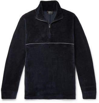 A.P.C. Bike Ribbed Cotton-Velvet Half-Zip Sweatshirt