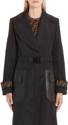 Fendi Leather Pocket Trench Coat