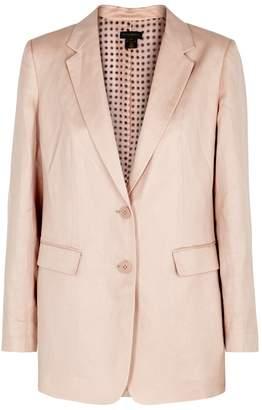 Donna Karan Pink Linen And Cotton-blend Blazer