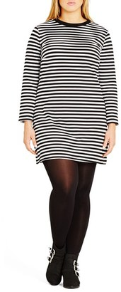City Chic 'Mono Magic' Stripe Stretch Cotton Tunic (Plus SIze) $59 thestylecure.com