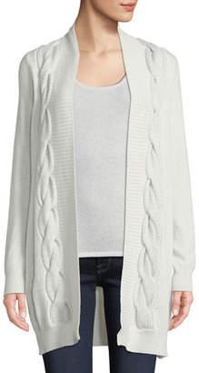Neiman Marcus Metallic Cable-Knit Cardigan