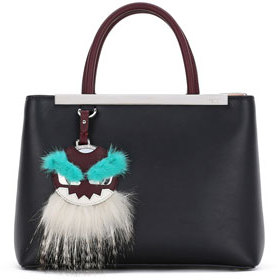 FendiFendi 2Jours Petite Monster Mirror Satchel Bag, Black/Bordeaux/Aqua