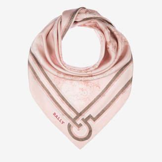 Bally Crest Print Silk Scarf Pink, Women's silk scarf in dusty rose
