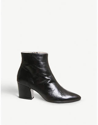 Office Aubergine curved heel leather ankle boots