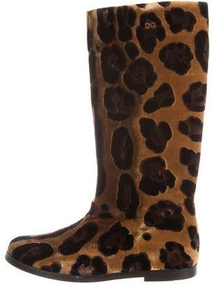 Dolce & Gabbana Velvet Mid-Calf Boots w/ Tags
