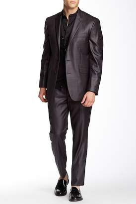 Kenneth Cole Reaction Gray Solid Two Button Notch Lapel Trim Fit Suit