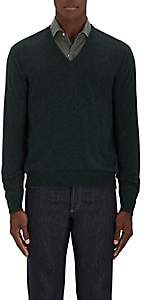 Barneys New York MEN'S STOCKINETTE-STITCHED CASHMERE SWEATER-GREEN SIZE S