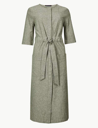 Marks and Spencer Linen Rich Tie Waist Shift Midi Dress