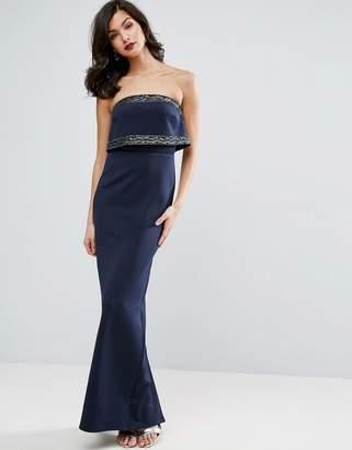 Asos Embellished Crop Top Bandeau Maxi Dress