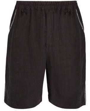 By Walid - Lorenzo Vintage Linen Shorts - Mens - Black