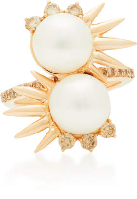 Joana Salazar Double Spike 14K Rose Gold And Pearl Ring