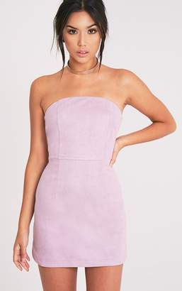PrettyLittleThing Lilac Faux Suede Bandeau Bodycon Dress