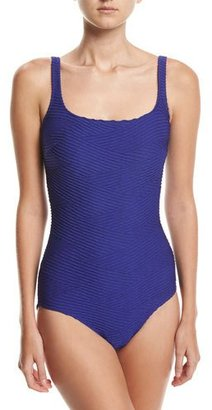 Gottex Essence Square-Neck One-Piece Swimsuit, Blue $108 thestylecure.com