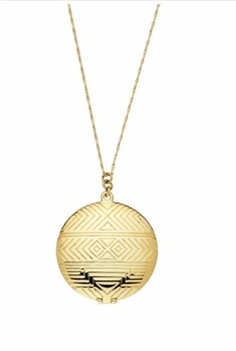 House of Harlow 1960 Gold Medallion Locket Necklace
