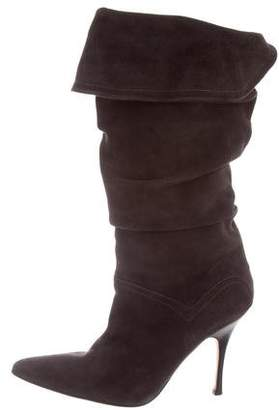 Manolo Blahnik Ruched Suede Boots