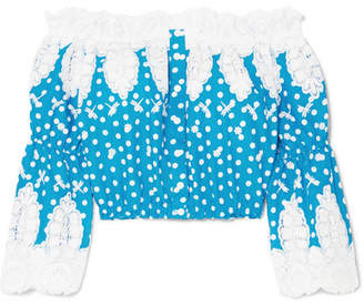 Miguelina Ari Off-the-shoulder Crocheted Polka-dot Cotton Top - Azure