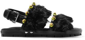 Embellished Leather And Alpaca Sandals - Black