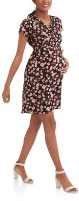 Oh! Mamma Maternity Ladder Trim V-Neck Floral Dress-- Available In Plus Size