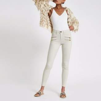 River Island Womens Cream Molly double zip mid rise jeggings