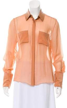 Reed Krakoff Silk Leather Trim Blouse