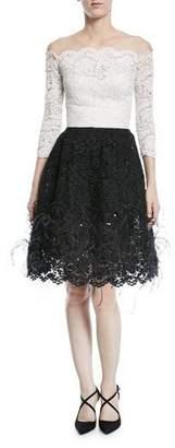 Oscar de la Renta Off-Shoulder Illusion Lace Cocktail Dress