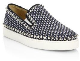 Christian Louboutin Pik Boat Glitter Pyramid Skate Sneakers $995 thestylecure.com