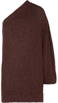 Stella McCartney Oversized One-shoulder Crochet-knit Sweater - Brown
