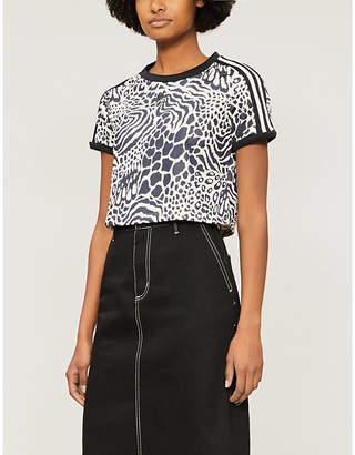 adidas Leopard-print stretch-jersey T-shirt