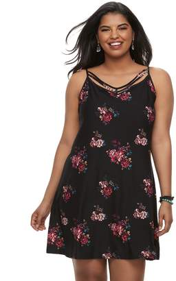 Mudd Juniors' Plus Size Printed Strappy Swing Dress