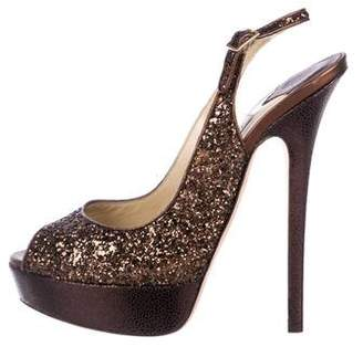 224afef2fc5 Pre-Owned at TheRealReal · Jimmy Choo Glitter Peep-Toe Pumps